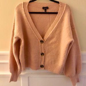 Topshop Crop Pink Cardigan Button Front